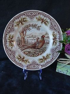 NEW victorian english pottery WOODLAND HARVEST dinner plate OPEN STOCK pheasant