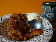bowl of syrup sponge with vanilla ice cream | H is for Home #recipe