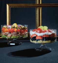 Trifle Bowls perfect for salad or fruit  http://www.poshpartysupplies.com/categories/posh-collections/the-platter-pleasers-collection.html?sort=priceasc