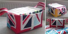 union jack reversible fabric basket riley blake tutorial free pattern