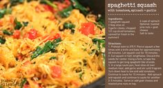 Spaghetti Squash with Tomatoes, Spinach + Garlic