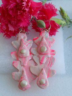 Pretty Pink Drop pierced earring set.They are by Carrolcreates4u