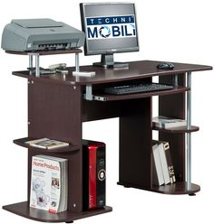 Techni Mobili RTA-8104-CH36 Complete Computer Workstation Desk With Storage. Color: Chocolate