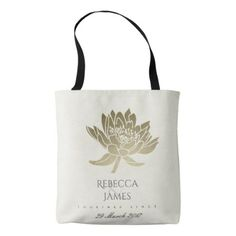 GLAMOROUS PALE GOLD WHITE LOTUS SAVE THE DATE GIFT TOTE BAG - bridal shower gifts ideas wedding bride