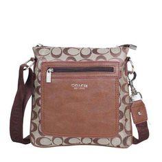 Discount Coach Bleecker Monogram Small Khaki Crossbody Bags DQE Clearance