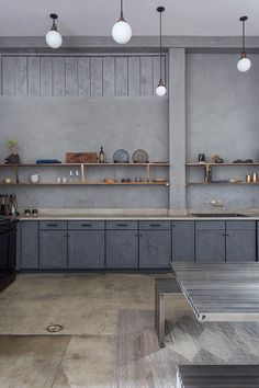 """Stephen Kenn Loft in Los Angeles doubles as """"micro hotel"""" and showroom Vintage Industrial Lighting, Industrial Light Fixtures, Industrial Loft, Home Design, Interior Design Tips, Interior Inspiration, Concrete Countertops, Concrete Floors, Lofts"""