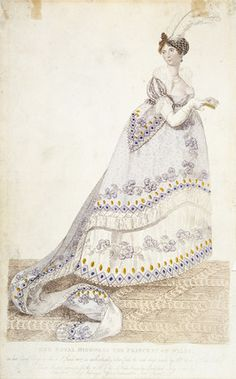 Her Royal Highness the Princess of Wales in her Court Dress on the 4 of June 1807, as authentically taken from the real dress made by Mrs Webb of Pall Mall, London. It shows the hooped dresses and long trains which Queen Charlotte insisted be worn at formal court occasions.1807