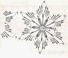 horgolt hópelyhek - Google keresés, snowflake diagram