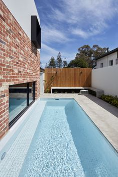 Home lap pool design idea Natural Swimming Pools, Natural Pools, Agricultural Buildings, Brick Garden, Architecture Images, Small Pools, Indoor Outdoor Living, Brickwork, Facade House
