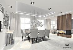 Projekt jadalni z salonem w domku jednorodzinnym Conference Room, Dining Table, Ceilings, House, Furniture, Home Decor, Decoration Home, Home, Room Decor
