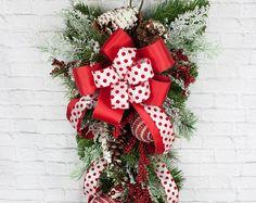 36 pulgadas Navidad lágrima botín, botín de la Navidad, RAZ, vacaciones Swag, Holly Berry Swag, guirnalda de la Navidad, Navidad botín, botín de Navidad
