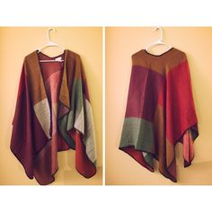 beautiful color block poncho 100% acrylic. NWOT. Took the tag off thinking I'd wear it, but never came around to it. Perfect condition. Very soft Sweaters Shrugs & Ponchos