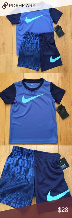 """Nike Toddler Boys 2Pc Tee & Shorts Set Blue Nike Toddler Boys NWT 2-Piece Tee and Shorts Set *Includes tee and shorts *Tee is blue with contrasting sleeves and Nike Swoosh logo on front  *Shirts have elastic waistband with Nike Swoosh on left leg and """"Just Do It"""" graphic print on right leg.  *Size 4T (3-4 years) *100% polyester *smoke/pet free home *fast shipping! Nike Matching Sets"""