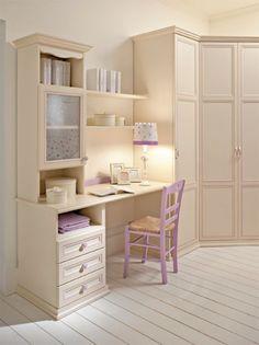 Camerette Arcadia | Scrivania per bambini finitura Magnolia e Glicine | Colombini