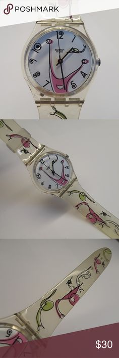 Vintage Swatch Swiss Watch Clear Jelly Collector's This watch is clear jelly with pink, yellow and black swirls.  The face is white with a pink swirly smiley face.  The numbers are in a cute  whimsical design. This in not new, it a vintage watch, face has scratches, as is currently not running needs a new battery. Swatch Accessories Watches