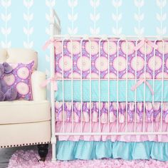 Purple and Pink Crib Bedding