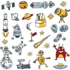 A Collection Of Cartoon Space Images. Royalty Free Cliparts ...