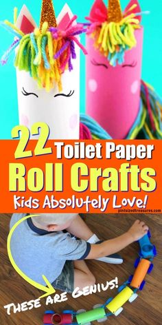 If you are looking for a neat craft idea made from toilet paper rolls you should check out these 22 ideas that kids absolutely love! These easy craft ideas don't require a lot of supplies and it's a great activity to enjoy on a rainy day or when you nee At Home Crafts For Kids, Easy Arts And Crafts, Crafts For Kids To Make, Toddler Crafts, Art For Kids, Kids Crafts, Do It Yourself Crafts, Crafts To Sell, Toilet Paper Roll Crafts