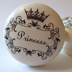 Princess Painted Wooden Knob