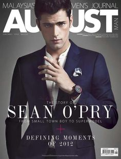The One & Only–VNY model Sean O'Pry looks great as usual on the January 2013 cover of August Man Malaysia. Shot by photographer Renie Saliba… Sean O'pry, American Male Models, Cover Boy, Emily Didonato, The Fashionisto, Fashion Cover, Men's Fashion, Fashion Editorials, Good Poses