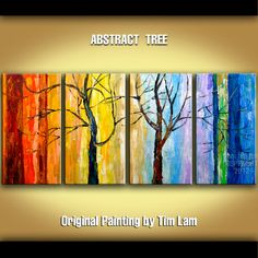 Acrylic paintings, Winter tree art with Rainbow Color, 4 panel 48 abstract Large Impasto Palette Knife texture by tim lam via Etsy