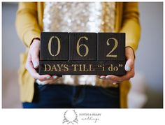 Wedding Countdown Blocks Days till I do Brown & Gold by kearydee