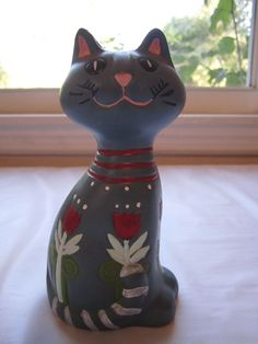 Blue Cat Figurine Spring Red Tulips Kitten Ceramic Easter Kitty Hand Painted
