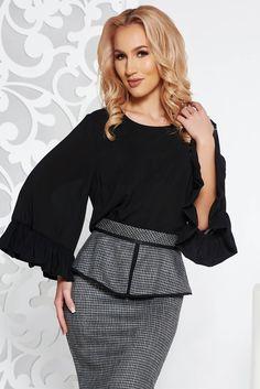 StarShinerS FALL in love office elegant bell sleeves black women`s blouse, FALL in love, women`s blouse, easy cut, Ruffled sleeves, long sleeves, voile fabric