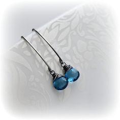 Londen Blue Topaz oorbellen topaas edelsteen oorbellen, Sterling Silver Dangle…