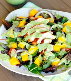 Blackened Chicken and Mango Salad with Creamy Avocado Dressing Recipe - RecipeChart.com