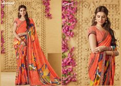 Get this amazing multicolor printed georgette saree with fancy lace along with unstitched Chicken Embroidered Peach Digital Blouse from Laxmipati Saree. #Catalogue #SANGEET Price - Rs. 1742.00 Visit for more designs@ www.laxmipati.com #ReadyToWear #OccasionWear #Ethnicwear #FestivalSarees #Fashion #Fashionista #Couture #SANGEET 0816 #LaxmipatiSaree #autumn #winter #women #her #she #mystery #lingerie #black #lifestyle #life #ColoursOfIndia #HappyBride #WhoYouAre #WomanPower #EpicLove… Laxmipati Sarees, Georgette Sarees, Printed Sarees, Occasion Wear, Powerful Women, Daily Wear, Bridal Collection, Print Design, Ready To Wear