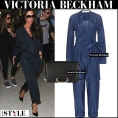 Victoria Beckham in dark blue navy silk jumpsuit #victoriabeckham #streetstyle