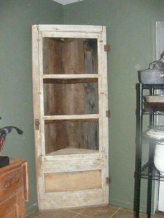 Old door. Add shelves to fit into an unused corner space.