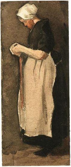 Scheveningen Woman by Vincent Van Gogh  Watercolor, Pencil, transparent watercolour, on watercolour paper  Etten: November - December, 1881
