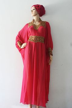 c7024a9768f Bright Moroccan Pink Chiffon Kaftan Gold Embroidery Dubai Abaya Maxi Dress  - For Women Kaftans