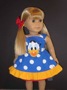 American Girl Donald Duck outfit.  Etsy ID: SerendipiDboutique