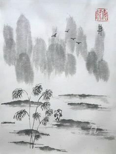 Rizière (Peinture sumi-e ) ,  24x32 cm par Anne Bonningue Pièce unique à l'encre de chine traditionnelle sur papier de riz Wenzhou  Marouflée sur du papier 300g