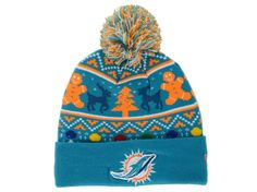de492a119 Miami Dolphins New Era NFL Ugly Sweater Pom Knit Hats