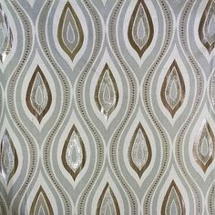Pattern name is Taj - a stunning metallic tear-drop design in neutral taupe, white, & beige by Thief River Linen