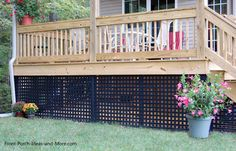 Deck Skirting Ideas - Exactly what is deck skirting precisely? Deck skirting is a material connected to support post and also boards listed below a deck. Diy Pergola, Pergola Swing, Outdoor Pergola, Pergola Shade, Pergola Kits, Outdoor Decor, Pergola Ideas, Black Pergola, Corner Pergola