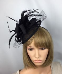 91f0a96a Black fascinator Black hatinator wedding fascinator mother of the bride  Ascot races ladies day prom