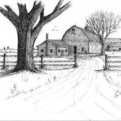 Ideas For House Sketch Farm Landscape Pencil Drawings, Pencil Art Drawings, Art Drawings Sketches, Barn Drawing, Pencil Drawings For Beginners, Farm House Colors, House Sketch, Old Farm, Cool Landscapes