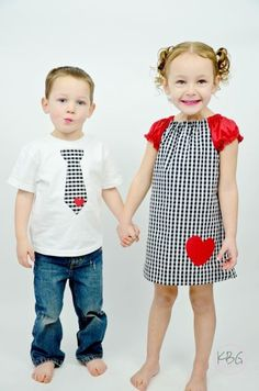 Houndstooth and Hearts matching brother, sister outfits - Maria Fashion Little Boy Outfits, Little Girl Dresses, Kids Outfits, Cute Outfits, My Sweet Valentine, San Diego, Valentines Outfits, Baby Sewing, Matching Outfits