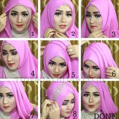 Gambar & Video Tutorial Hijab Untuk Kartinian Simple dan Cantik | Tutorial Hijab Terbaru 2018 Model Hijab Segi Empat Pashmina Lengkap Turban Tutorial, Hijab Style Tutorial, Tutorial Hijab Wisuda, Hijab Turban Style, Turban Hat, Casual Hijab Outfit, Wedding Hijab, Kurta Designs Women, Hijab Fashion