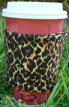 Leopard Reusable Fabric Coffee Cozy by cozycabinmom on Etsy, $4.00
