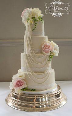 Pearls and Roses Wedding Cake - CakesDecor
