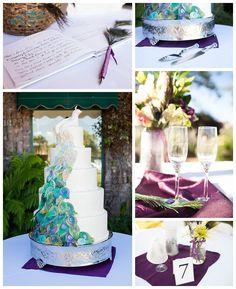 Gorgeous peacock wedding details, peacock wedding cake. Kimie Grace Photography. www.kimiegracephoto.com