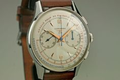 This is an incredible example of a 1960s stainless steel Longines chronograph.