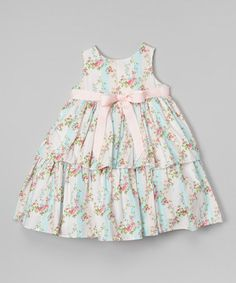 Look what I found on #zulily! Pink & Blue Floral Tier Dress - Infant by Laura Ashley London #zulilyfinds