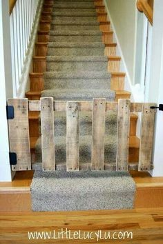 Could make longer.  Use book shelf brackets to support gate to stairs.